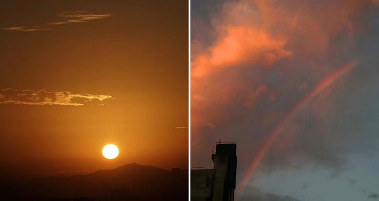 今晨宁波天空东边铺红霞 西边现彩虹