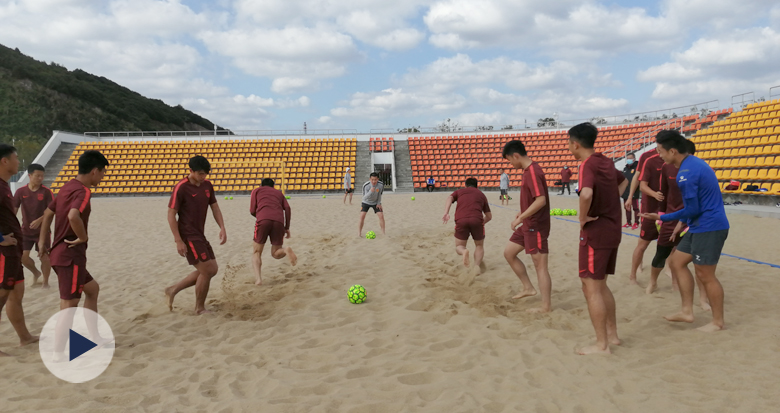 中国男子沙滩足球队北仑集结 备战亚锦赛亚沙会