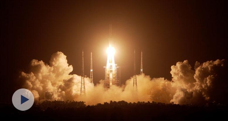 """45秒回顾嫦娥五号发射成功 一图了解这次""""挖土""""之旅"""