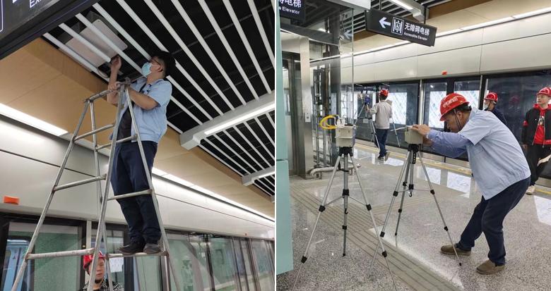 工作人员为宁波地铁环境卫生作检测