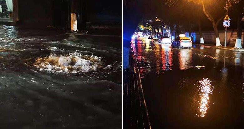海曙西河街水管破裂 积水一度超过10厘米 已连夜抢修完毕