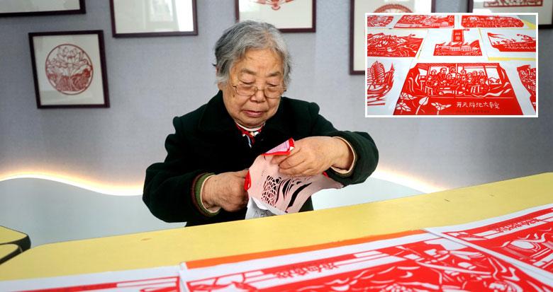 宁波81岁老人将创作40多幅剪纸 展现中国共产党百年历史
