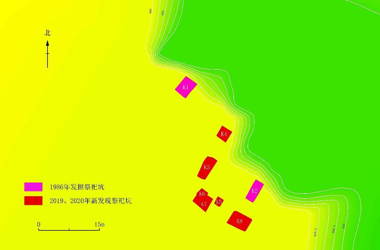 """▲""""祭祀坑""""分布示意图 四川省文物考古研究院供图"""