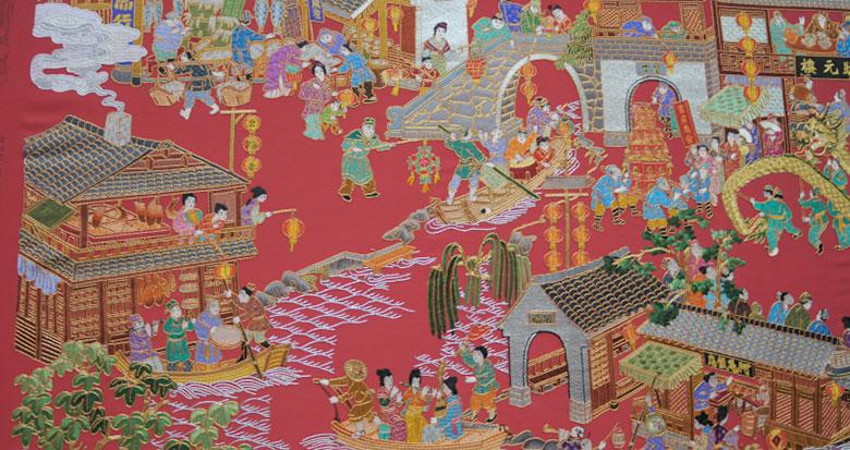 城隍庙、天封塔、状元楼...宁波这幅金银彩绣作品太赞了