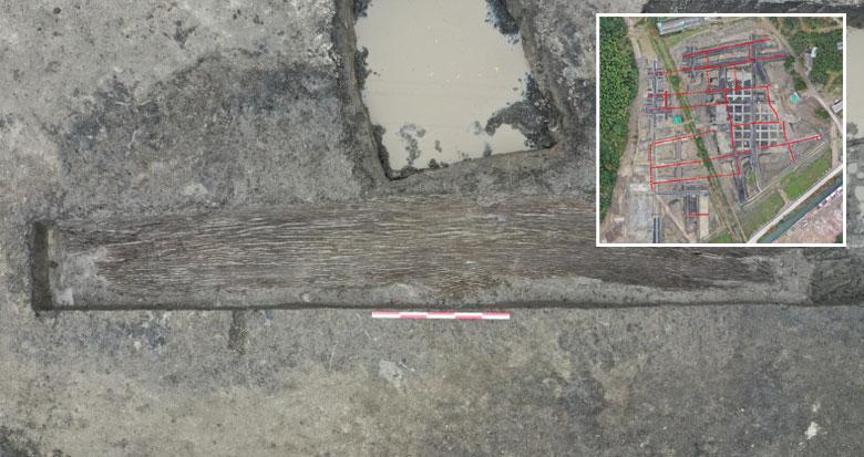 余姚施岙古稻田遗址发现宁波地区最早的独木舟