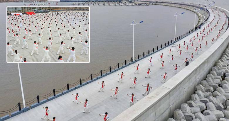 杭州亚运会迎来倒计时500天 象山千人展演太极拳
