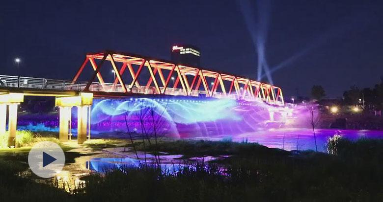 美呆了!宁波首个桥体音乐喷泉灯光秀亮相奉化江口