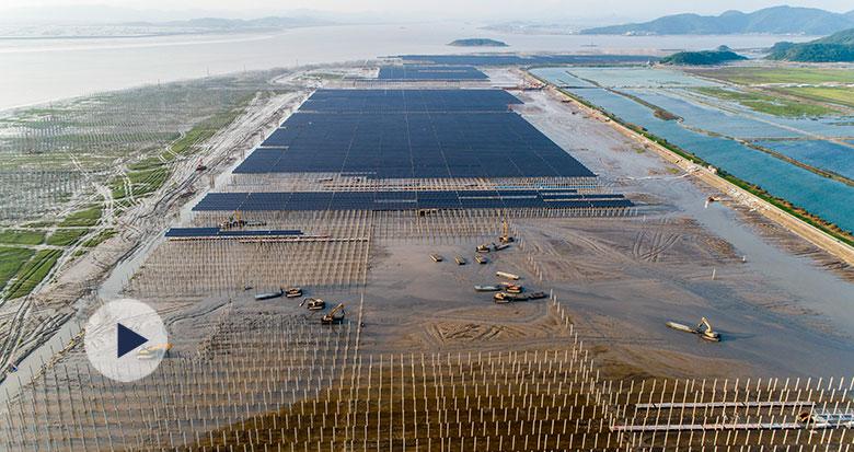 国内首个海岸堤外滩涂光伏送出工程前期工作提前告竣