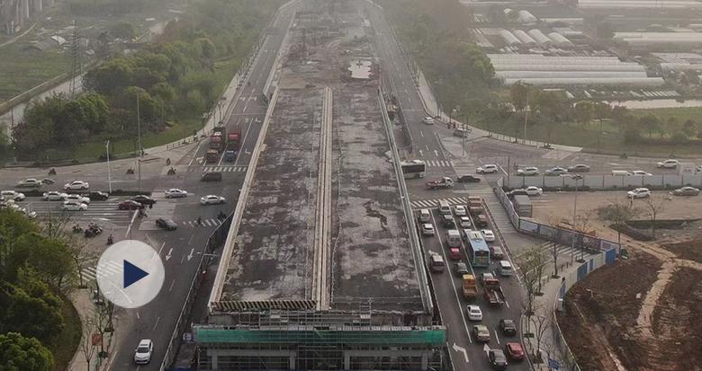 国内首例 福庆南路跨鄞县大道桥梁完成平移+顶升