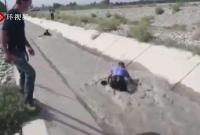 """新疆民警跳入沟渠救羊 外国网友点赞""""世界上最好的警察"""""""