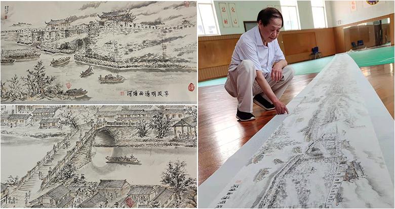 宁波74岁老人绘制34米《宁波明清西塘河》