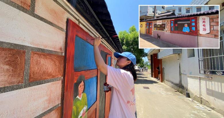 记忆里的乡愁!宁波这位女大学生耗时1个月画了一面墙
