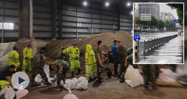 三江口部分路段被淹 深至齐腰!百人连夜抢装沙包抢险