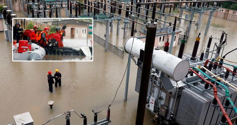 洞桥变电站内的水泵持续排水