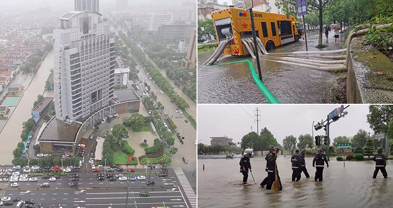 余姚出动应急救援泵车强排城区积水