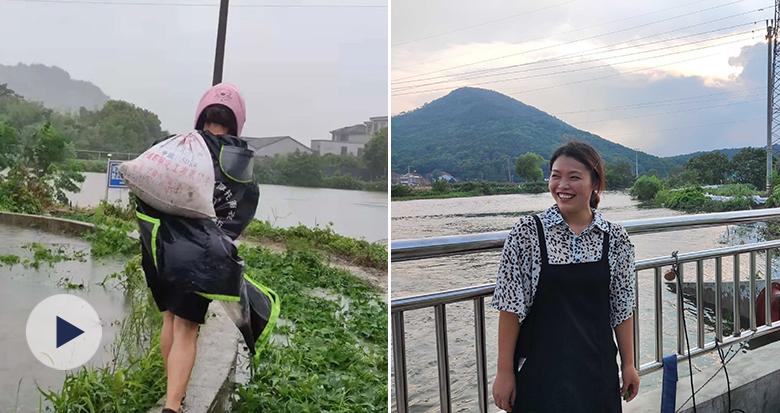 """余姚""""最美背影""""找到了!她曾在台风天扛了4小时沙袋"""