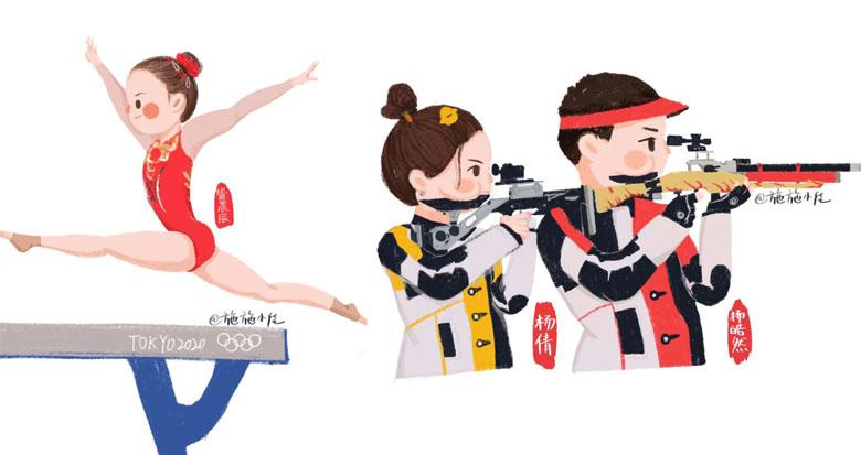 萌!慈溪手绘达人创作奥运健儿Q版形象 看了都想收藏