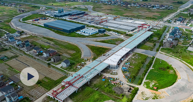 航拍杭甬高速复线宁波段一期工程西段
