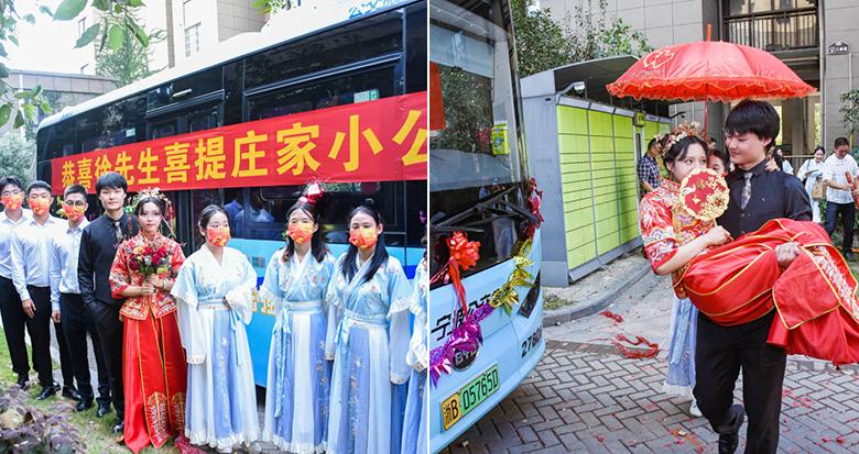宁波一小伙租6辆公交车做婚车迎娶新娘