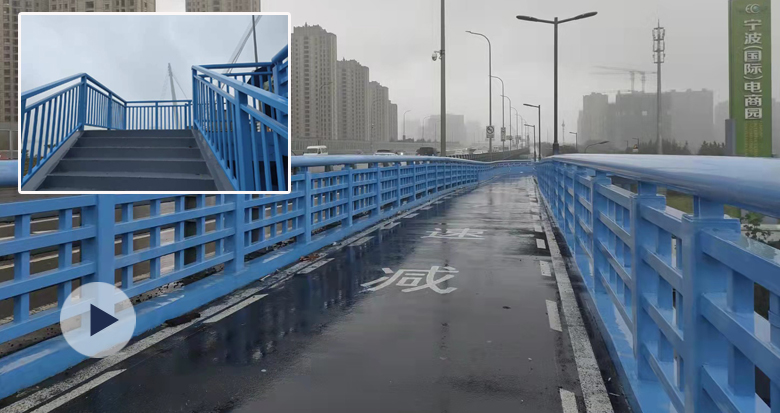青林湾大桥两侧装上蓝色车道便桥 非机动车跨江更安全